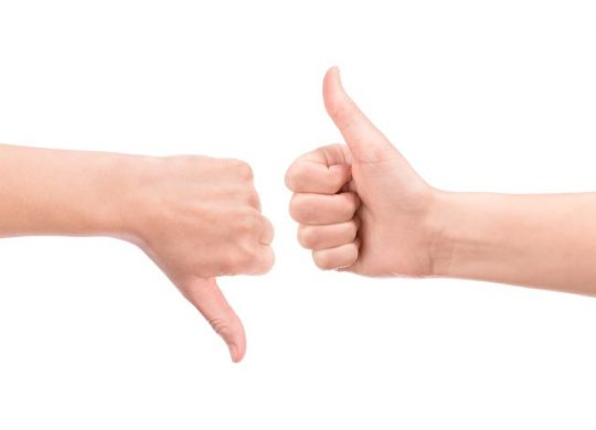 Photo of thumbs up and thumbs down