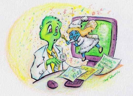 Illustration of healthcare Grinch working