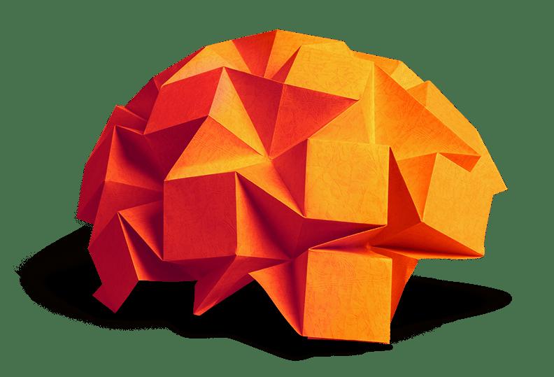 photo of paper origami brain
