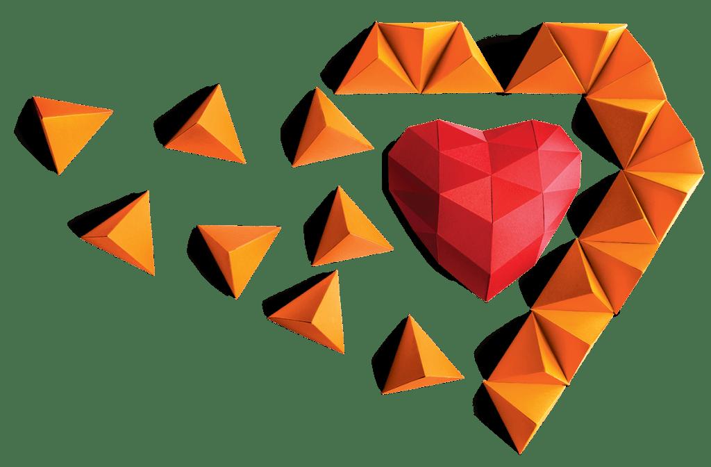 photo of origami heart shape
